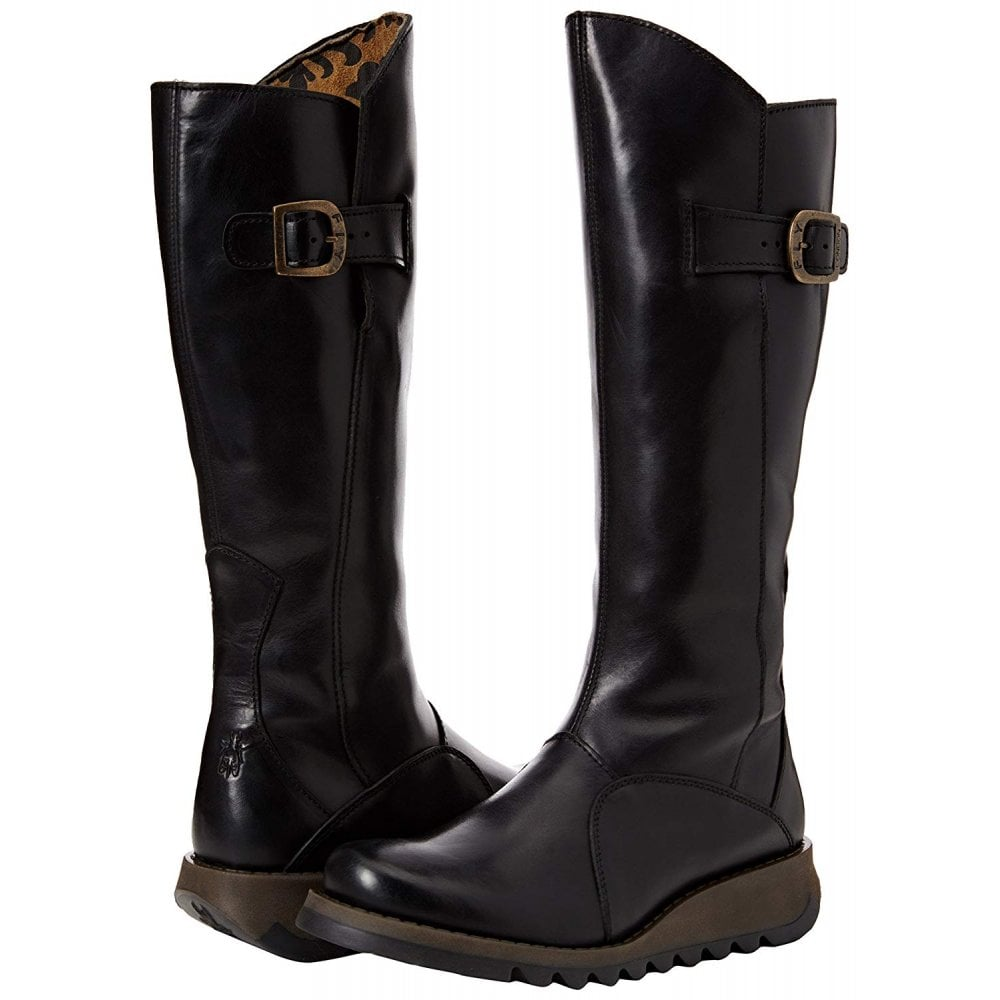 2f70d37304f MOL 2 Knee High Leather Winter Boot - Low Wedge Cleated Sole - Rug Black