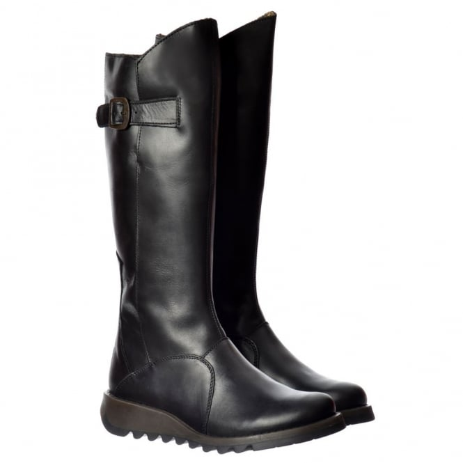 Fly London MOL 2 Knee High Leather Winter Boot - Low Wedge Cleated Sole - Rug Black, Rug Purple, Petrol