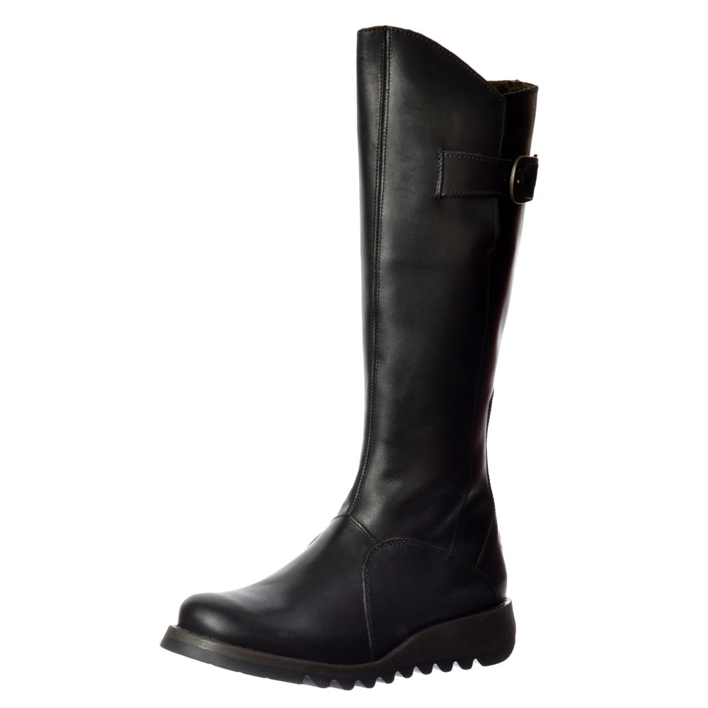 d80fb503034 MOL 2 Knee High Leather Winter Boot - Low Wedge Cleated Sole - Rug Black