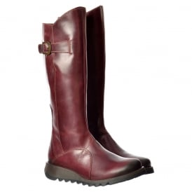 MOL 2 Knee High Leather Winter Boot - Low Wedge Cleated Sole - Rug Black, Rug Purple, Petrol