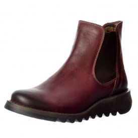 Salv Rug Leather Chelsea Ankle Boot - Low Heel - Camel, Purple, Petrol. Black