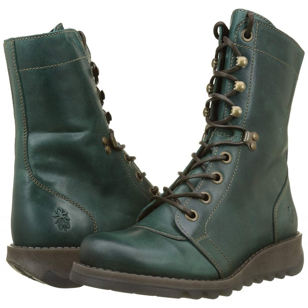 Ladies Fly London Site360 Lace Up Leather Ankle Boot Biker Military All Colours