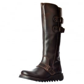 Solv Calf High Winter Boot - Low Wedge Cleated Sole - Black, Dark Brown