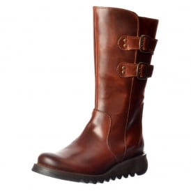 Suli Mid Calf Rug Leather Winter Boot - Low Wedge Cleated Sole