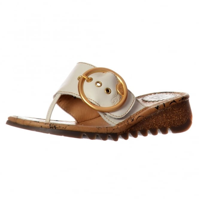 Fly London Trim Wedge Flip Flop - Cleated Sole - Off White, Camel