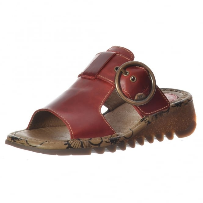 Fly London Tute Wedge Flip Flop - Cleated Sole - Red