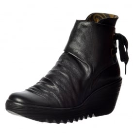 Yama Pull On Ankle Boots Wedge Heel
