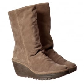 Yara Mid Calf Oil Suede Winter Boot - Mid Wedge Cleated Sole - Deep, Black, Taupe