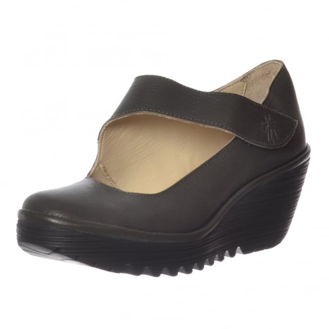 Fly London Yasi 682 Leather Mary Jane Wedge Shoe - Black Mousse, Nicotine Mousse
