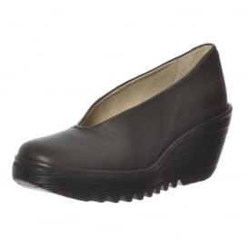 Yaz Wedge Round Toe Court Shoe - Low Heel Cleated Sole - Black, Cordoba Red, Nicotine Mousse, Ocean Mousse