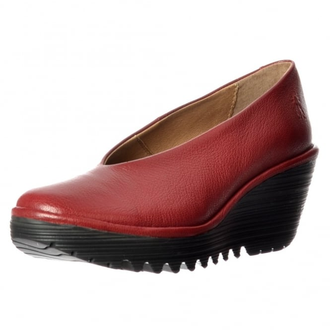 Fly London Yaz Wedge Round Toe Court Shoe - Low Heel Cleated Sole - Black, Cordoba Red, Nicotine Mousse, Ocean Mousse