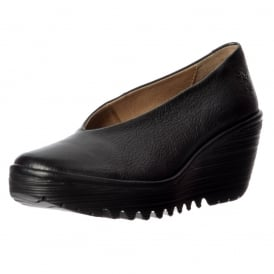 Yaz Wedge Round Toe Court Shoe - Low Heel Cleated Sole