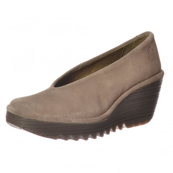 Fly London Yaz Wedge Round Toe Court Shoe - Low Heel Oil Suede