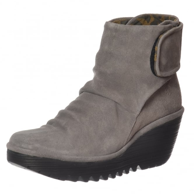 Fly London Yegi 689 Pull On Ankle Boots Wedge Heel - Oil Suede - Black, Ash, Diesel, Borgogna Graphite