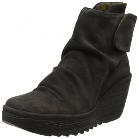 Yegi 689 Pull On Ankle Boots Wedge Heel - Oil Suede - Black, Ash, Diesel, Borgogna Graphite