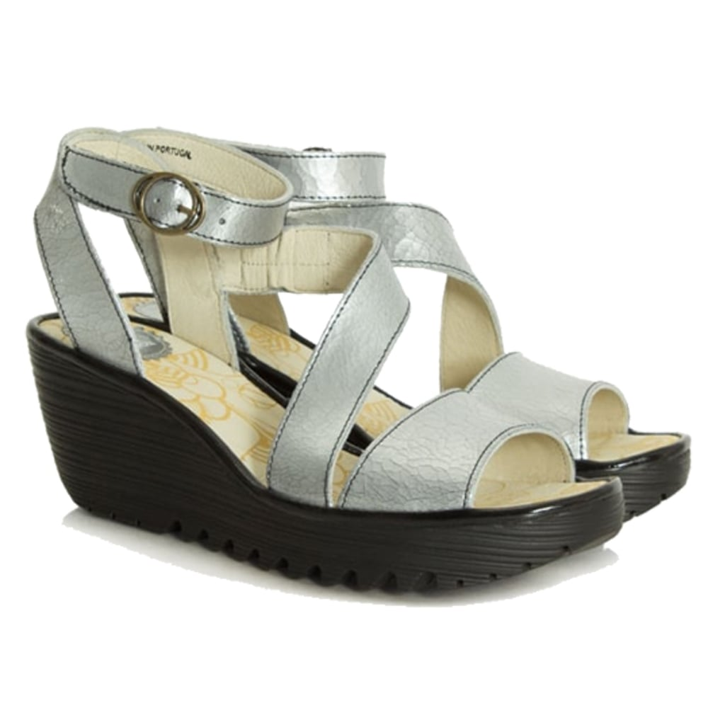 1faecf3e Fly London Yesk - Wrap Around Ankle Strap Summer Sandal - Silver - WOMENS  from Onlineshoe UK