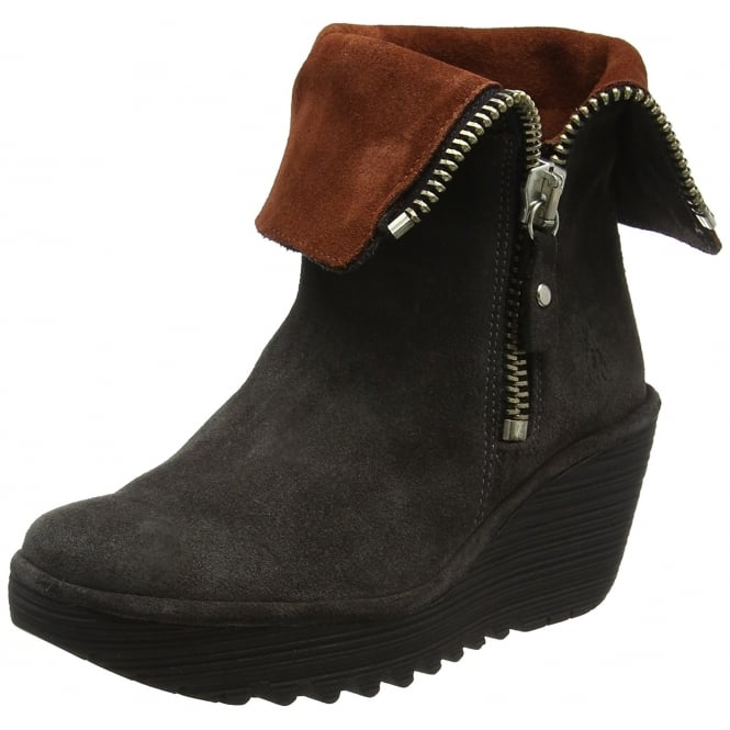 Fly London Yex668Fly Pull On Ankle Boots With Cuff Wedge Heel -Black / Ant.Silver