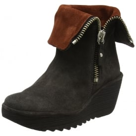 Yex668Fly Pull On Ankle Boots With Cuff Wedge Heel -Black / Ant.Silver