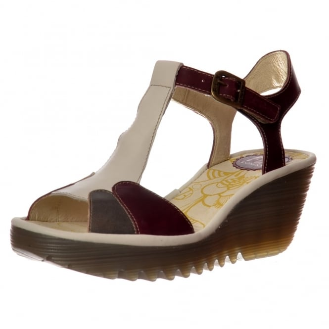 Fly London YILA Multi Summer Sandal - Magenta / Dark Grey / Off White
