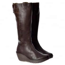 YOA Knee High Leather Winter Boot - Low Wedge Cleated Sole - Black, Dark Brown, Navy, Black Damani