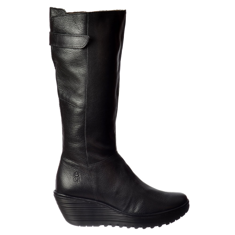 Fly London YOA Knee High Leather Winter Boot - Low Wedge Cleated ...