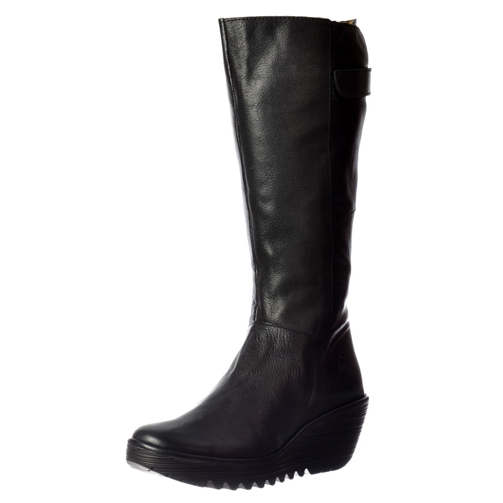 YOA Knee High Leather Winter Boot - Low Wedge Cleated Sole - Black, Dark  Brown