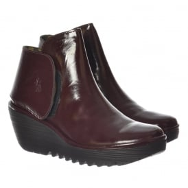Yogi Pull On Ankle Boots Wedge Heel - Black Patent, Burgundy Patent