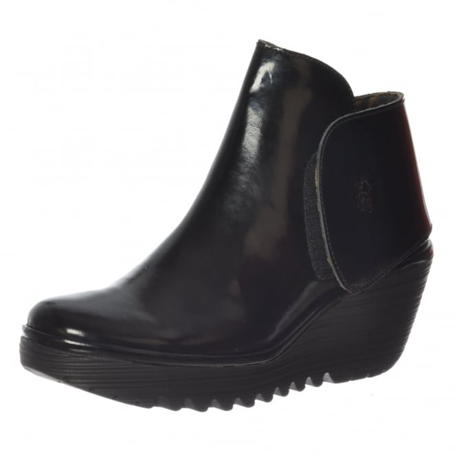 Fly London Yogi Pull On Ankle Boots Wedge Heel