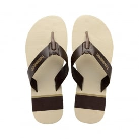 Mens Boys Urban Craft Flat Flip Flops - Beige