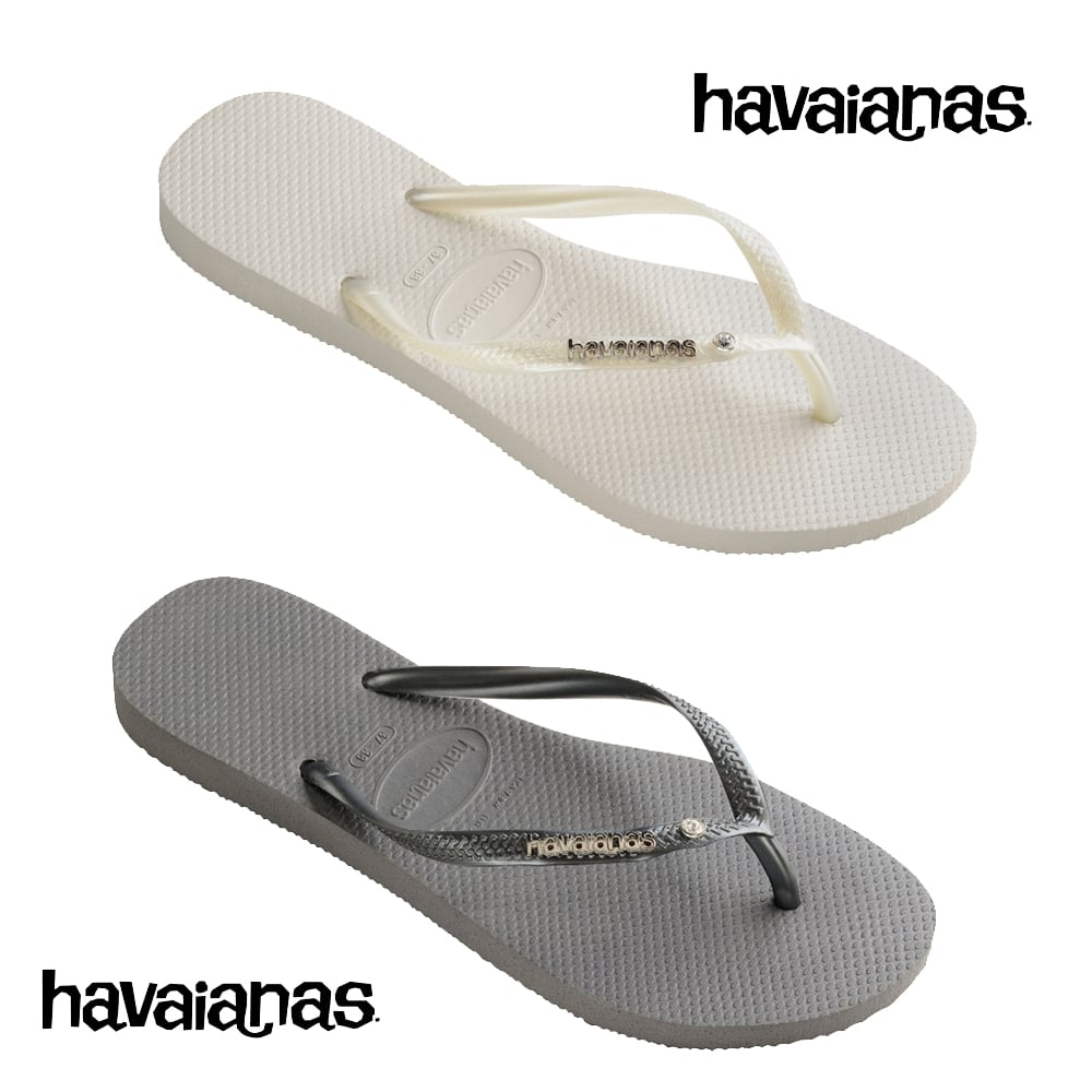cfcefd1d095495 Havaianas Slim Logo Metallic And Crystal - Steel Grey - WOMENS from ...