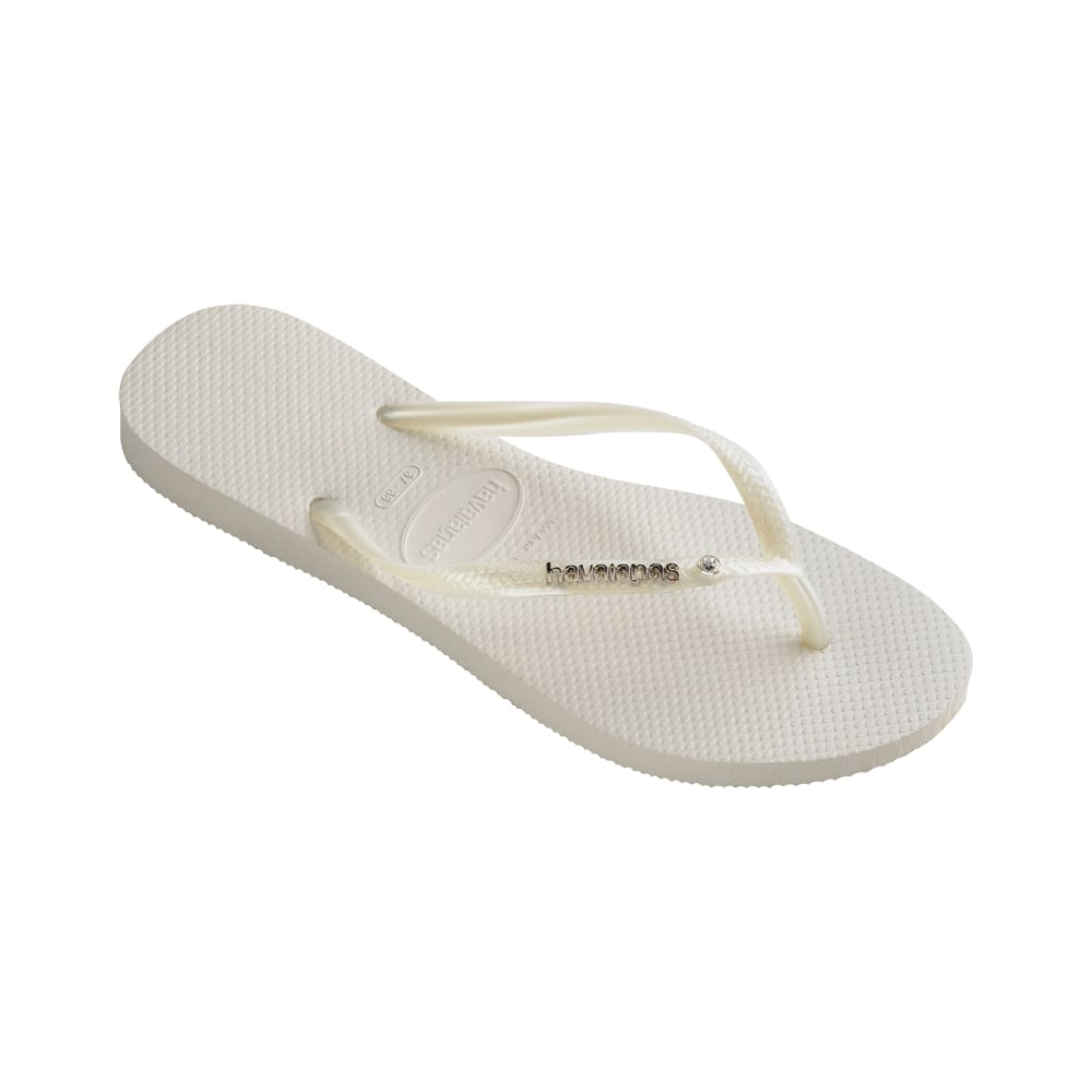 a142871cf752 Havaianas Slim Logo Metallic And Crystal - White - WOMENS from Onlineshoe UK