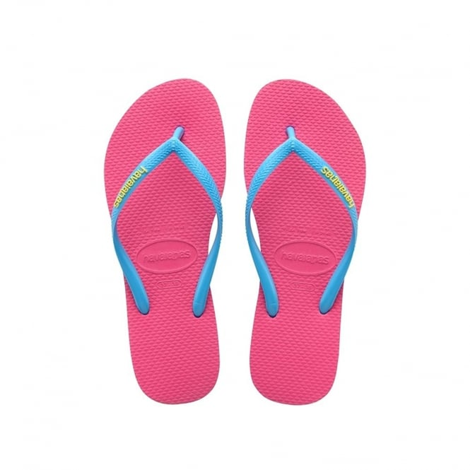 Havaianas Slim Logo Pop-Up Flat Flip Flop - Orchid Rose / Turquoise