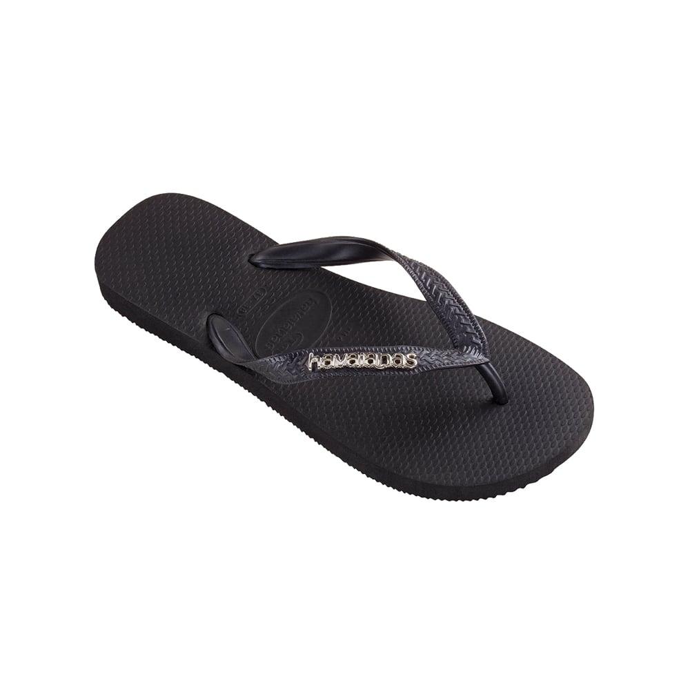 165f7d1ba6ff Havaianas Top Logo Metallic Flat Flip Flop - Black Grey - WOMENS from  Onlineshoe UK