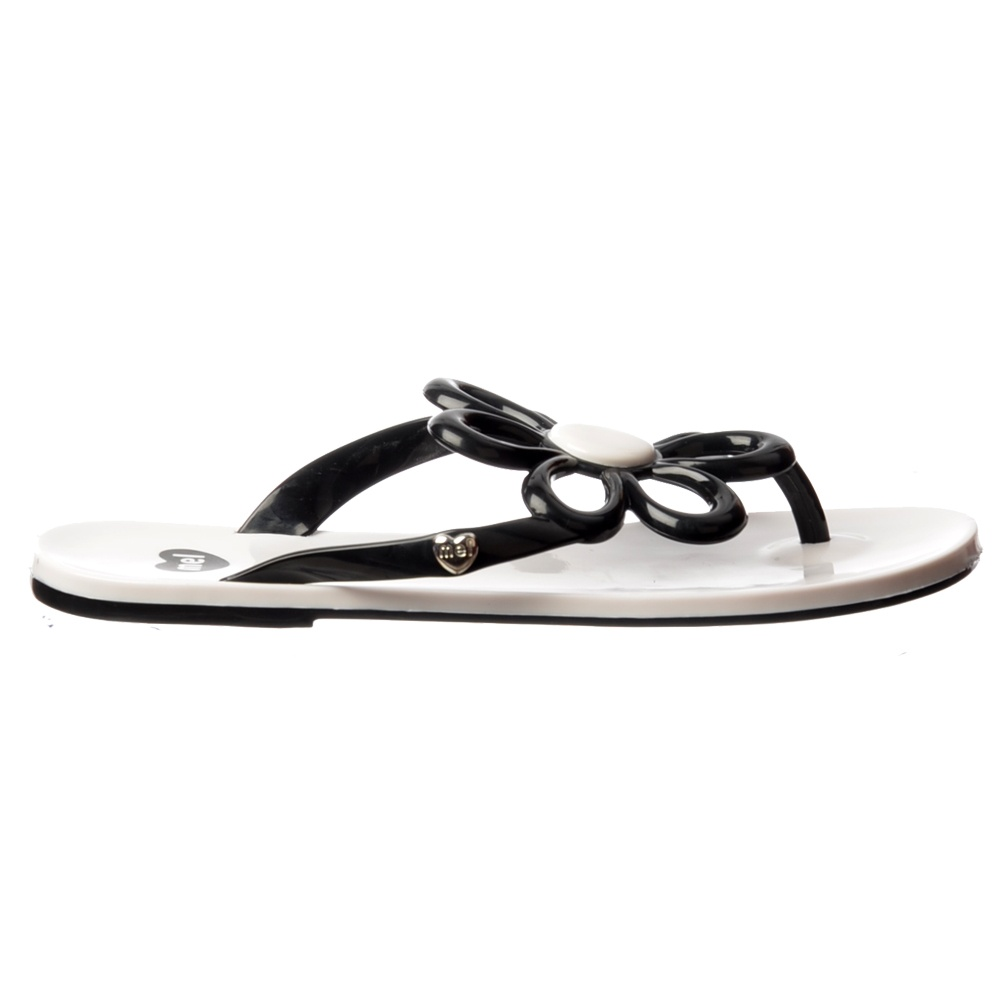 Mel Flower Flat Flip Flop Sandals Red White Black Womens