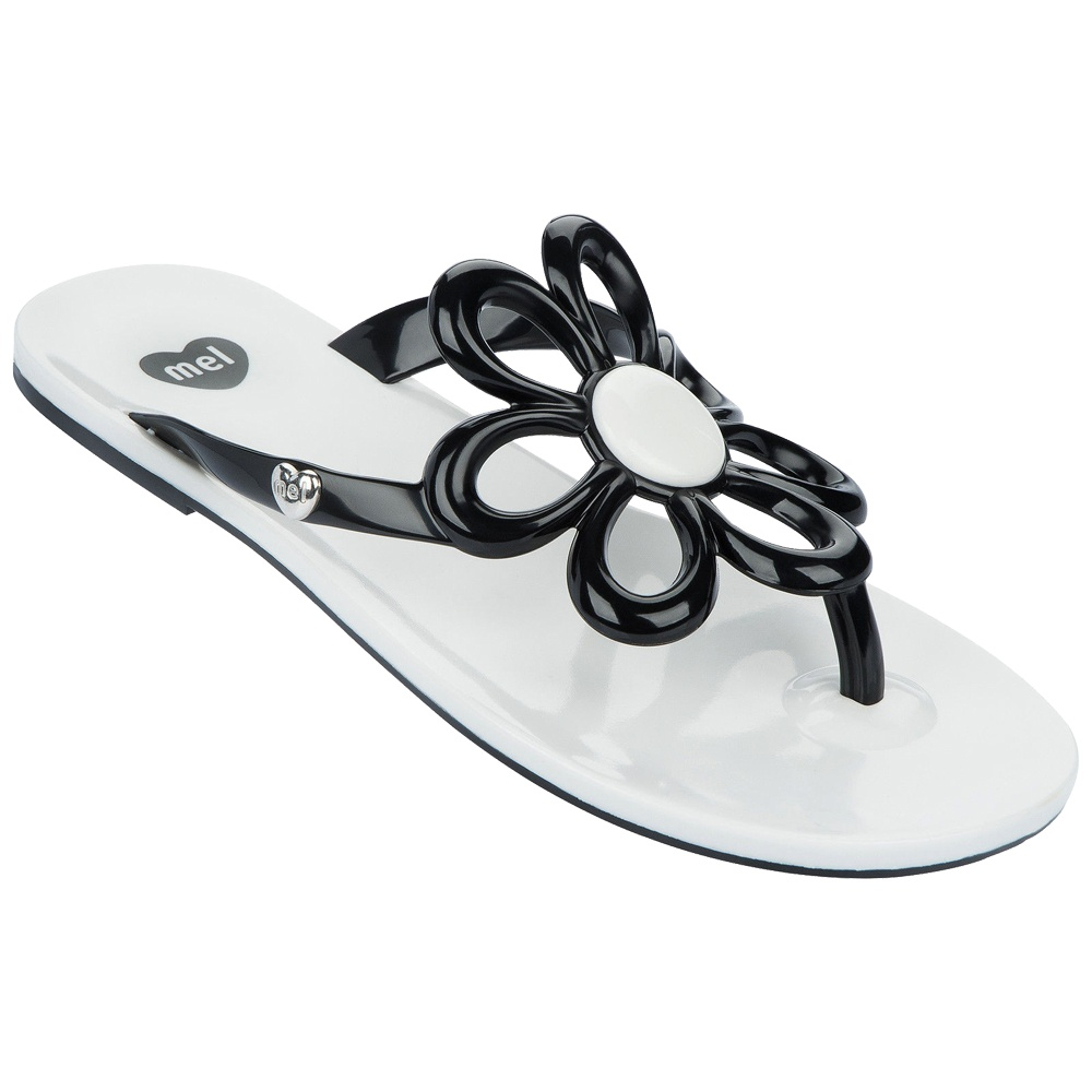 Mel Flower Flat Flip Flop Sandals Red White Black Womens