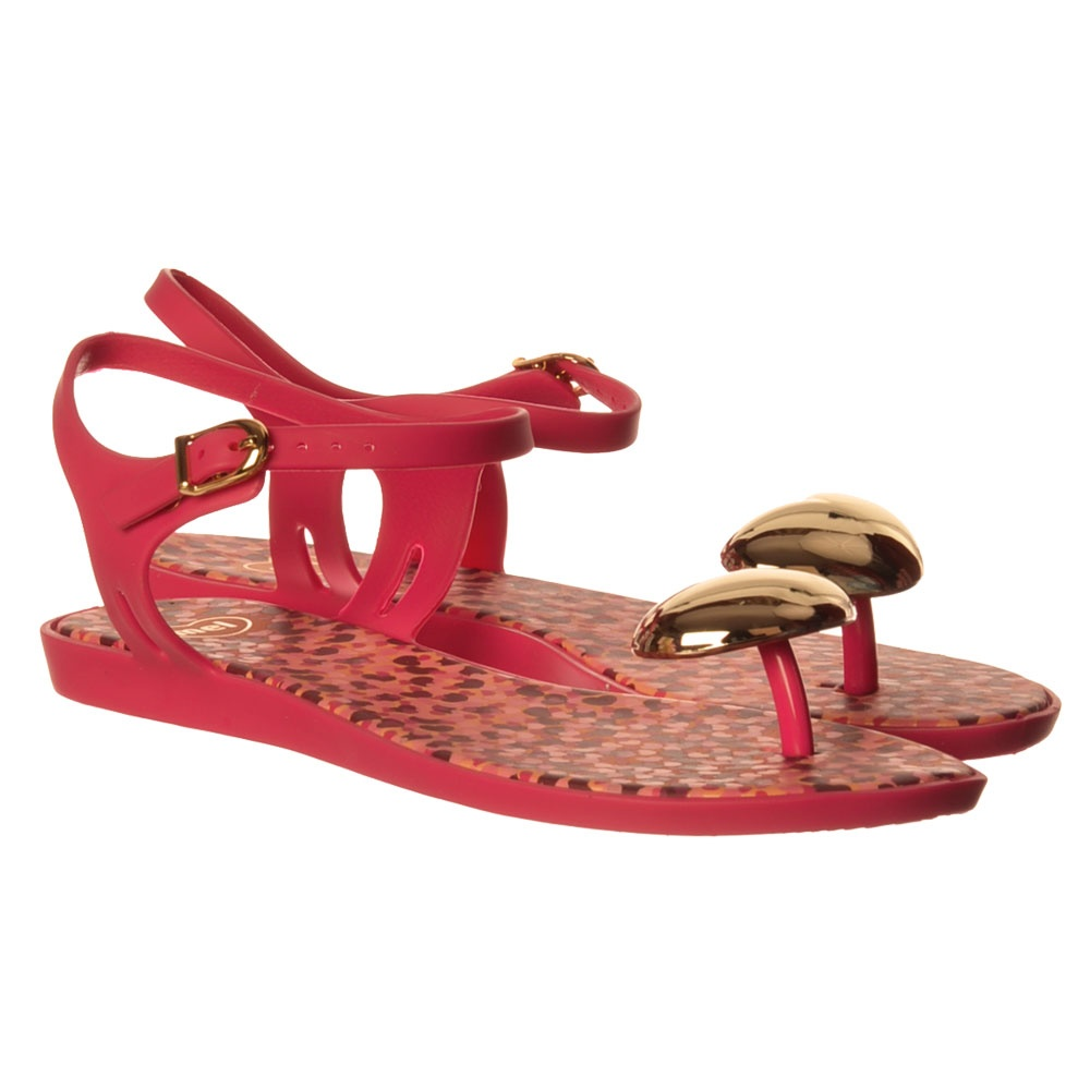 f278be5306d Mel Special - Flat Summer Jelly Sandal - Pink Gold Heart