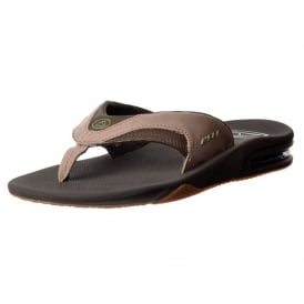 Mens Reef Fanning TX Flat Flip Flops With Bottle Opener - Black / Dark Grey