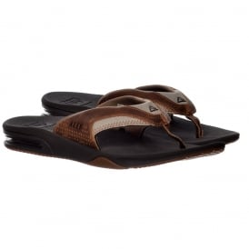 Mens Reef Leather Fanning Flat Flip Flops With Bottle Opener - Brown / Brown