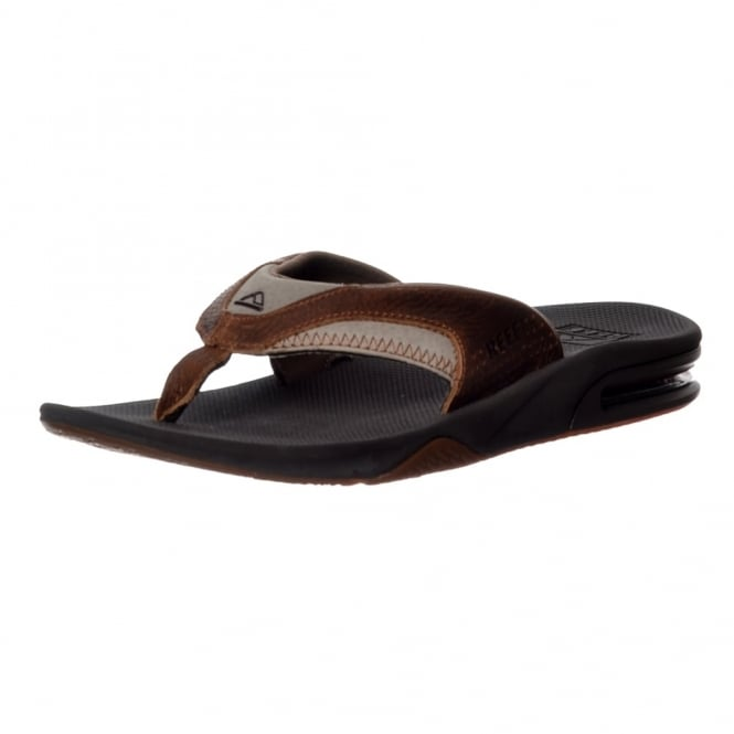 Reef Mens Leather Fanning Flat Flip Flops With Bottle Opener