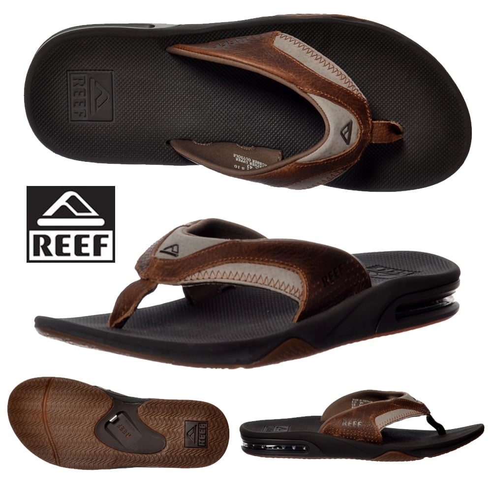 45e7dabfbbc Reef Mens Reef Leather Fanning Flat Flip Flops With Bottle Opener ...