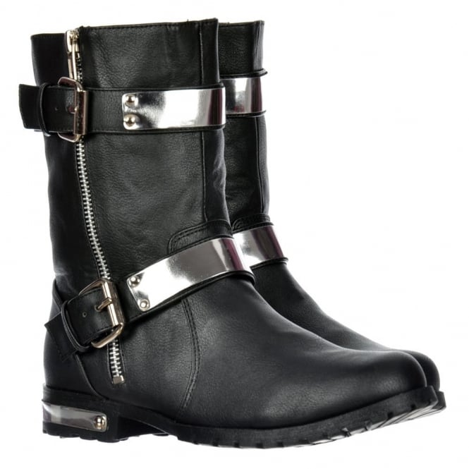 Onlineshoe Ankle Biker Boot - Chrome Metal Heel and Trim - Black