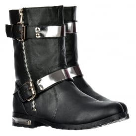 Ankle Biker Boot - Chrome Metal Heel and Trim - Black