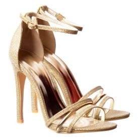 Ankle Strap Mid Heels Party Sandals - Gold Detail - Black Lizard, White Lizard, Nude Lizard, Gold Mesh, Silver Mesh