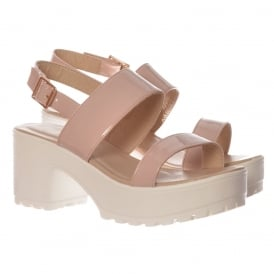 Ankle Wrap Cleated Sole Block Heel Sandals - Black PU, White PU, Nude Patent