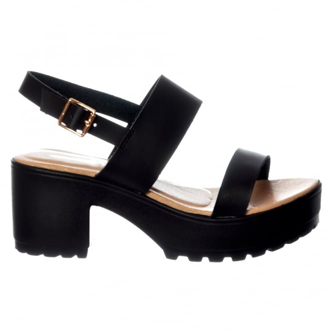 Onlineshoe Ankle Wrap Cleated Sole Block Heel Sandals