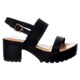 Ankle Wrap Cleated Sole Block Heel Sandals