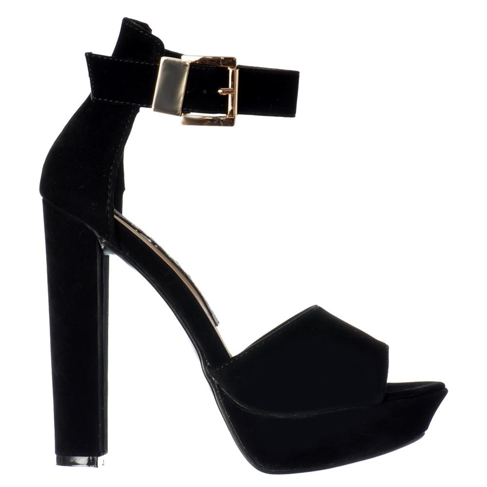 79cecff512a Onlineshoe Belle Peep Toe Platform Block High Heels - Ankle Strap ...