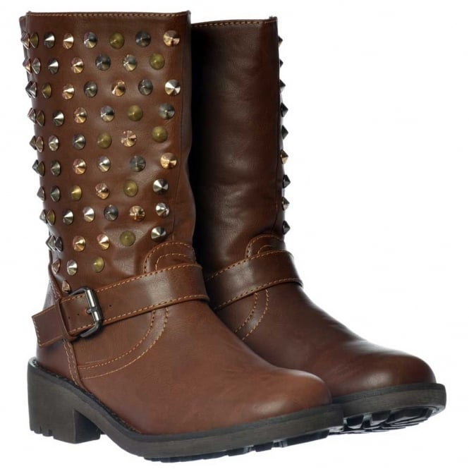 Onlineshoe Biker Ankle Boots - Gold Silver Chrome Studs - Tan