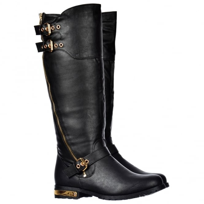 Onlineshoe Biker Boots With Dual Gold Buckle Straps Gold Zip And Heel Feature - Black