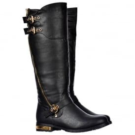 Biker Boots With Dual Gold Buckle Straps Gold Zip And Heel Feature - Black